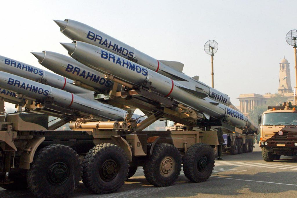 Brahmos missiles are seen during the rehearsal parade for India's Republic Day in New Delhi, on 20 January 2007. India will celebrate its 58th Republic Day 26 January with a large military parade attended by Russian President Vladimir Putin who will be the honour guest for the celebrations.