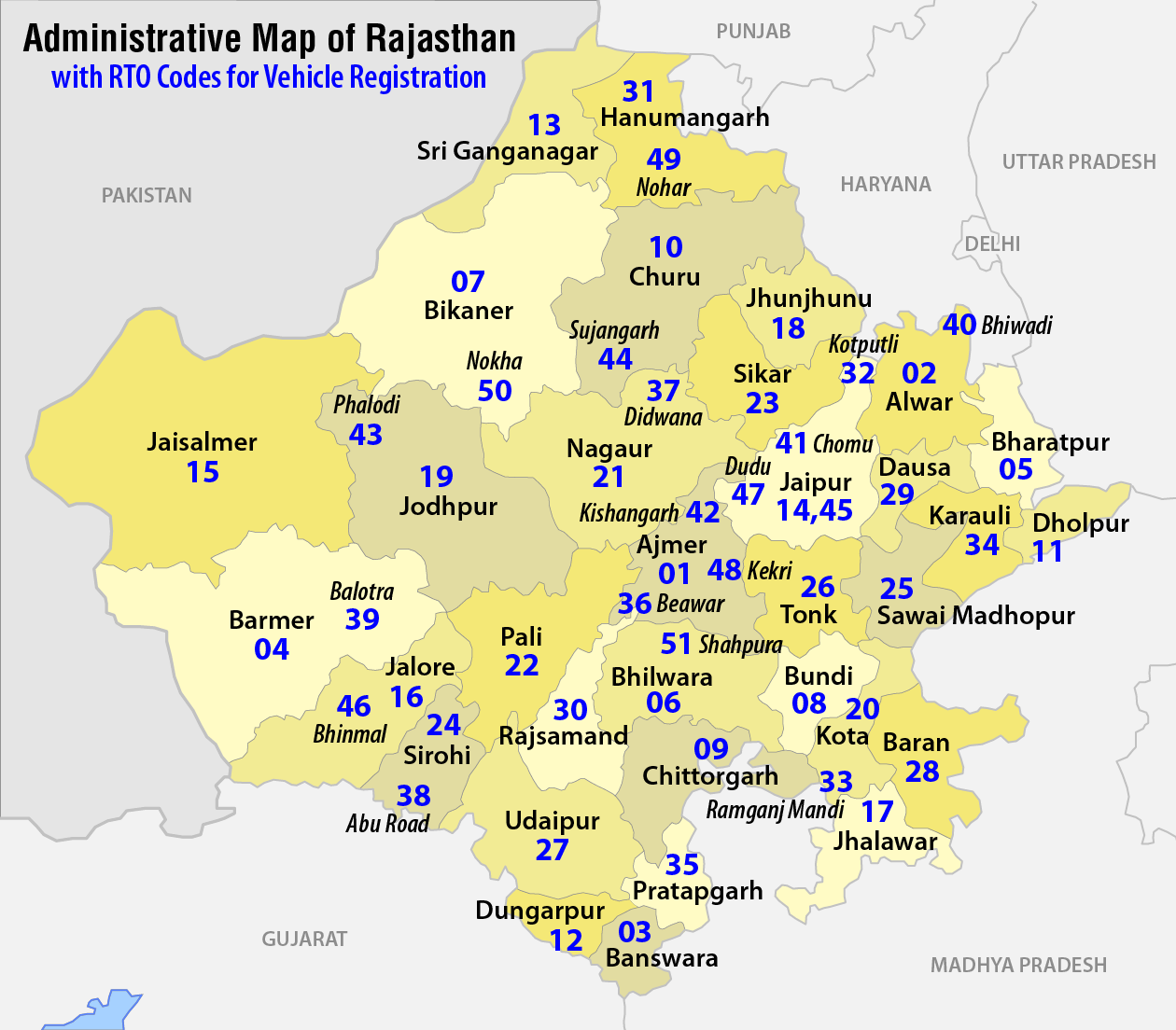 Districts of Rajasthan, Tourist Places of Rajasthan