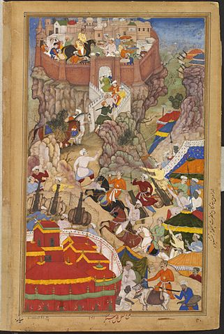 Painting depicting Akbar's entry to Ranthambore Fort