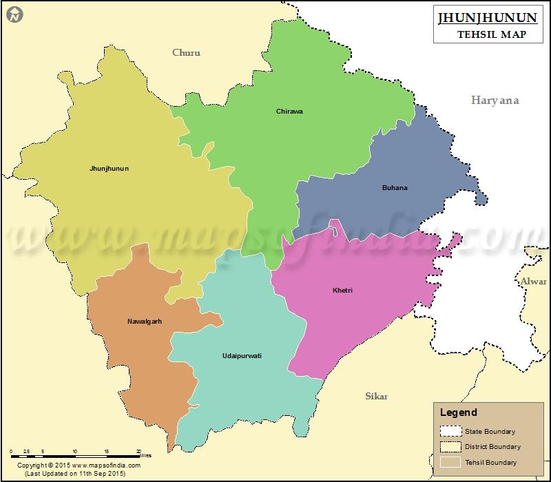 Jhunjhunu history geography places rajras rajasthan ras jhunjhununn tehsil map gumiabroncs Images