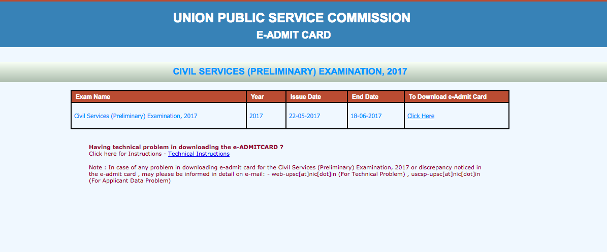 UPSC 2017 Admit Cards, CSE 2017 Admit cards download