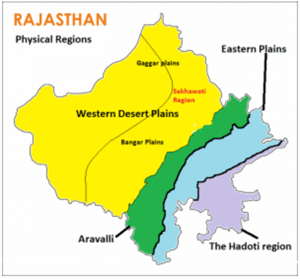 Physical Divisions of Rajasthan, Physical Geography of Rajasthan, Regions of Rajasthan