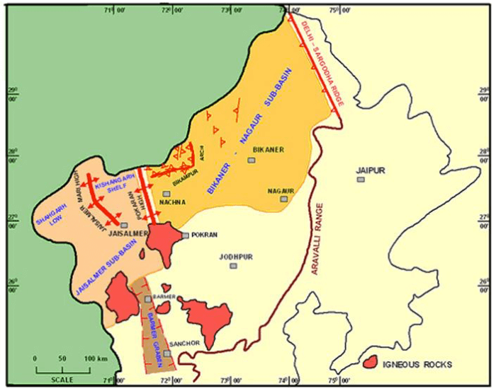 Rajasthan Basin, Jaisalmer Basin, Barmer – Sanchore Basin,