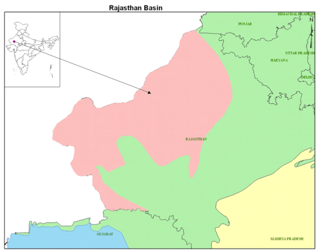 Hydrocarbon Rajasthan Basin geo Location Map