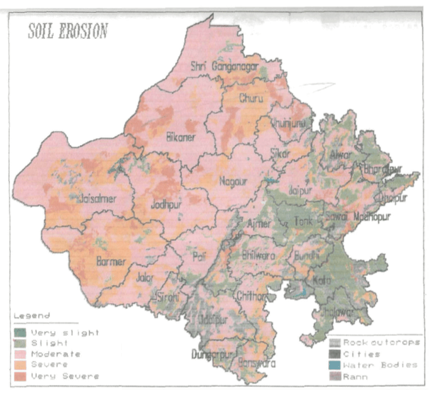 Desertification Erosion And Conservation Of Soils Of Rajasthan - Desertification Us Soil Erosion Map Us