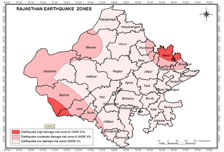 Seismic Zones, Faults & Earthquake Hazard in Rajasthan