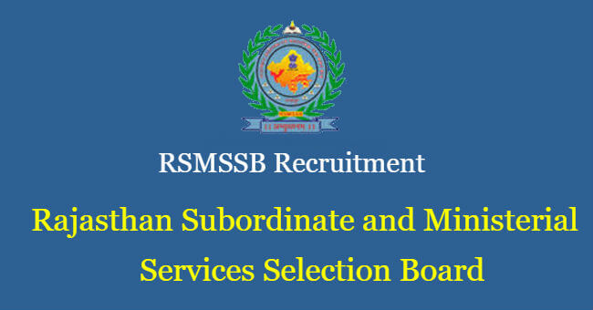 RSMSSB Exam Vacancies 2018