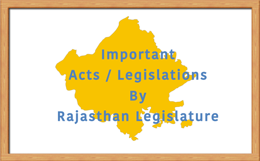 Important Acts Bills Legislation by Rajasthan Government
