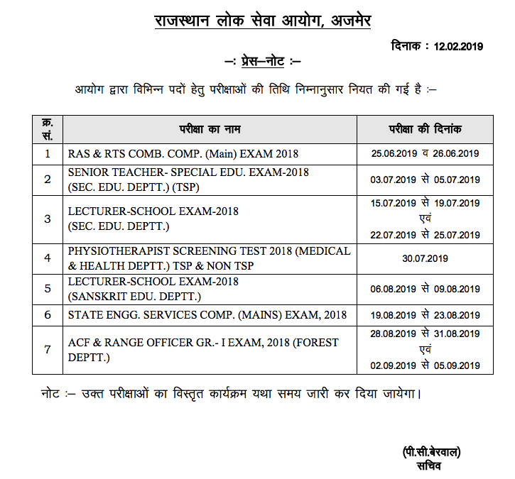 RAS 2018 Mains Exam Date