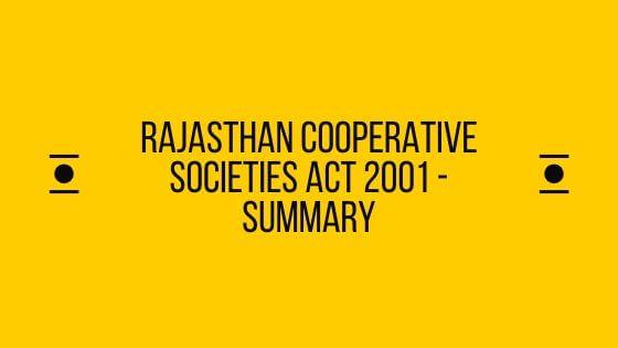 Rajasthan Cooperative Societies Act 2001 - Summary