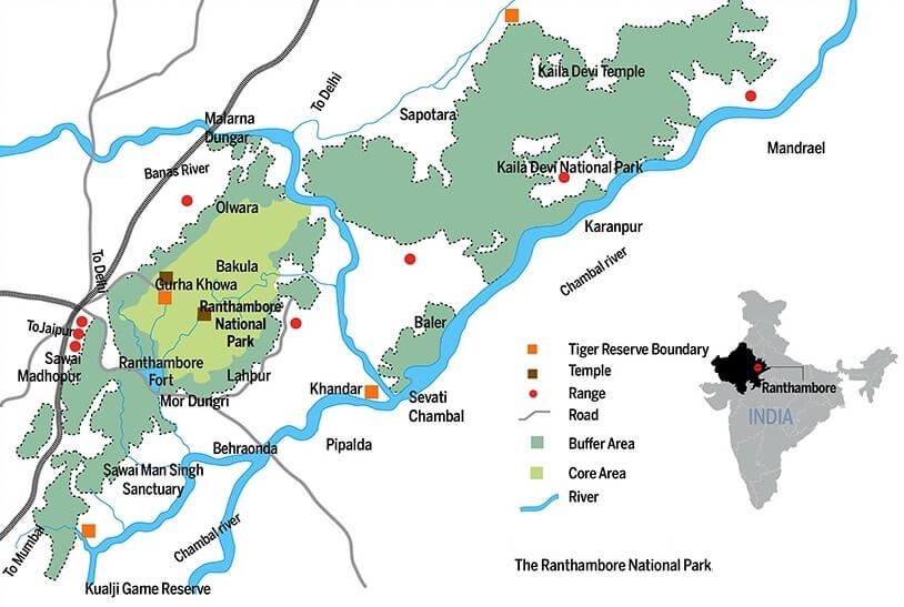 Ranthambore National Park Map | Sawai Mansingh - Kailadevi Wildlife Sanctuary Map