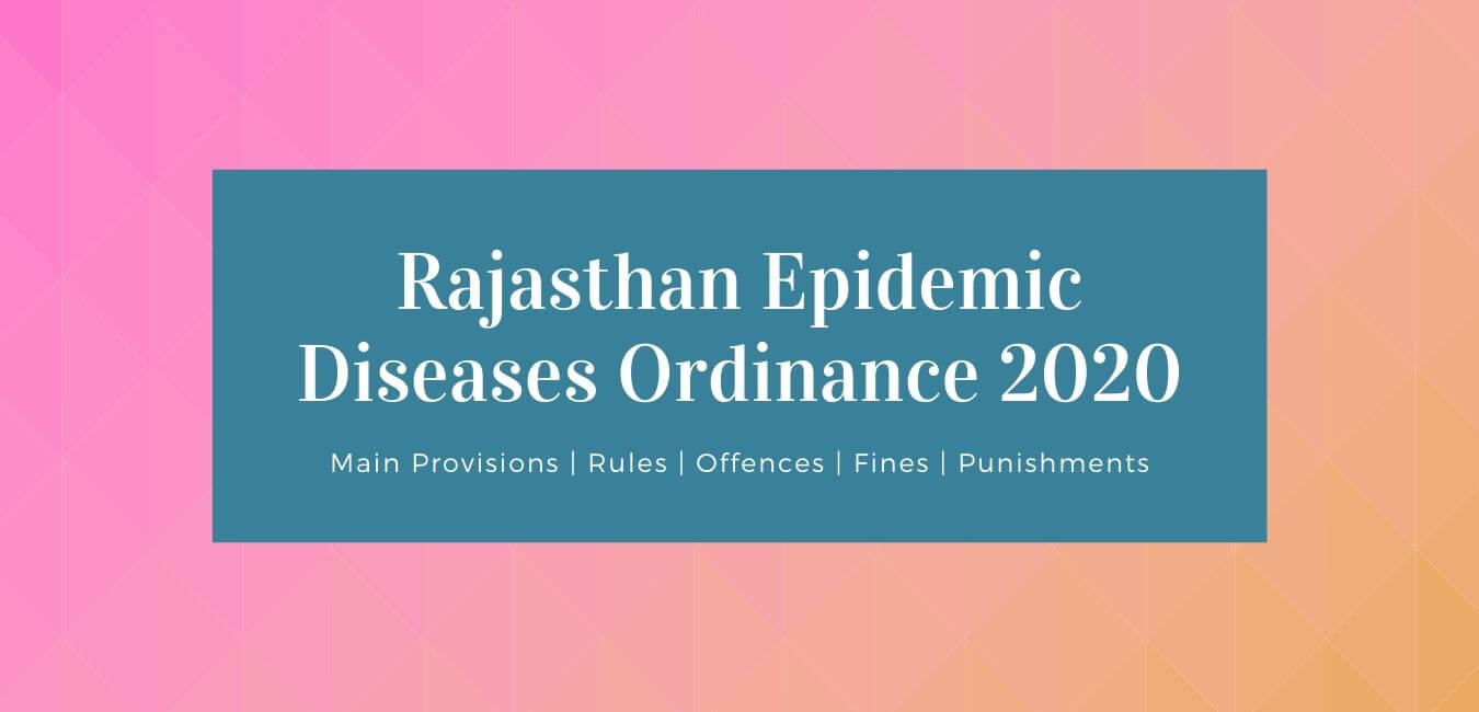 Rajasthan Epidemic Diseases Ordinance 2020 Rules Offences Fines Punishment