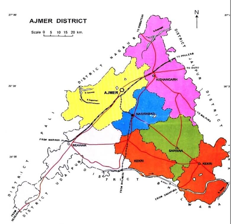 Administrative Map of Ajmer District of Rajasthan