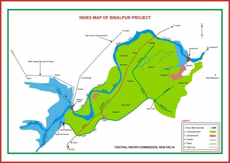 Map of Bisalpur Dam Project, Tonk Rajasthan