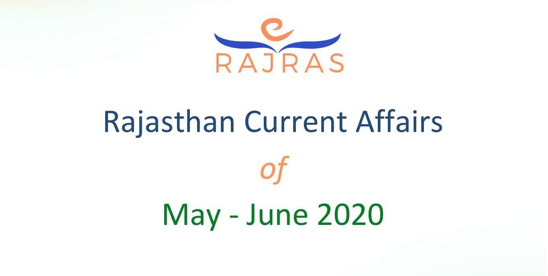 Rajasthan Current Affairs PDF: May-June 2020