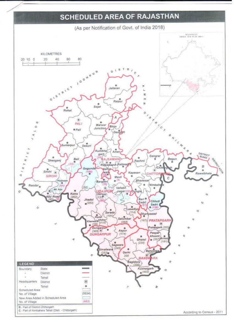 Map of Scheduled area of Rajasthan