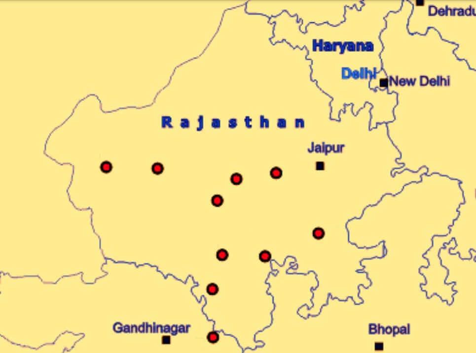 Map of Geo-Heritage Sites in Rajasthan