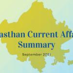 Rajasthan Current Affairs Summary September 2021